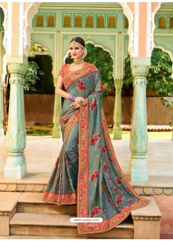 Grey Fancy Heavy Embroidered Designer Wedding Saree