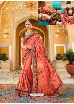 Orange Fancy Heavy Embroidered Designer Wedding Saree