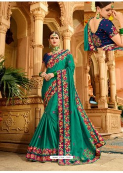 Dark Green Fancy Heavy Embroidered Designer Wedding Saree