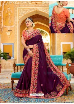 Latest Purple Fancy Heavy Embroidered Designer Wedding Saree
