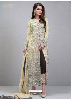 Cream Georgette Hand Worked Straight Suit