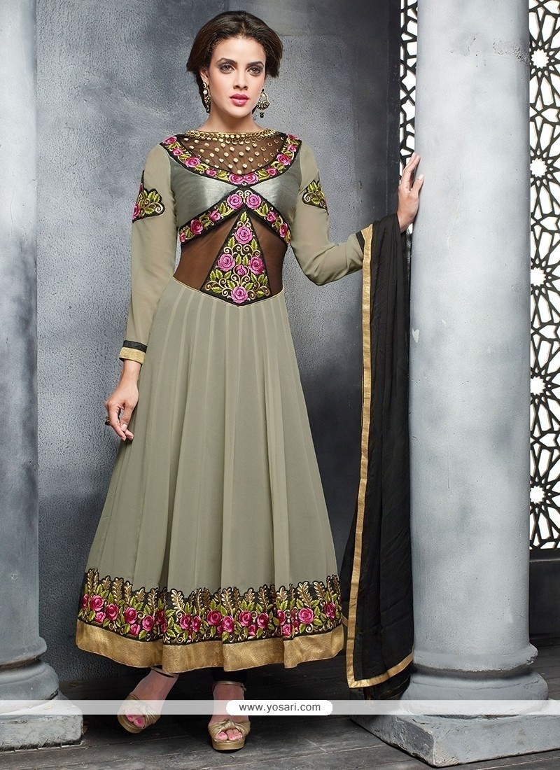 Pretty Grey Embroidery Work Anarkali Suit