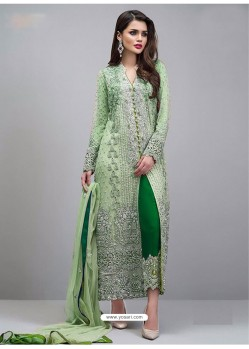 Green Georgette Hand Worked Straight Suit