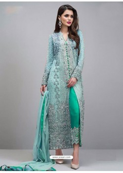 Sky Blue And Aqua Mint Georgette Hand Worked Straight Suit