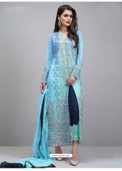 Blue And Navy Georgette Hand Worked Straight Suit