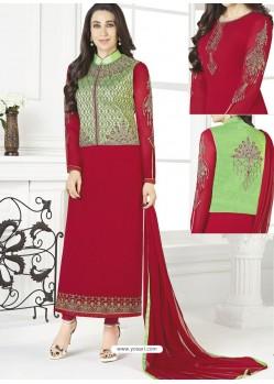 Maroon Georgette Designer Churidar Suit