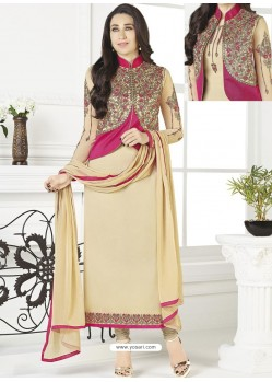 Cream Georgette Designer Churidar Suit