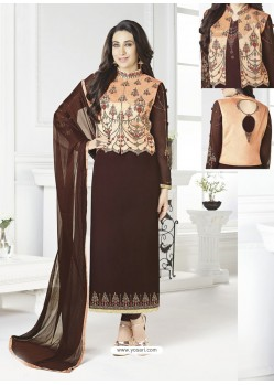 Coffee Georgette Designer Churidar Suit