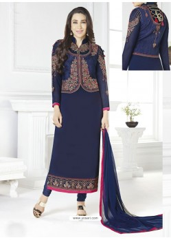 Navy Blue Georgette Designer Churidar Suit