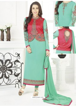 Aqua Mint Georgette Designer Churidar Suit