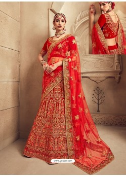Heavenly Red Fancy Fabric Heavy Embroidered Designer Bridal Lehenga Choli