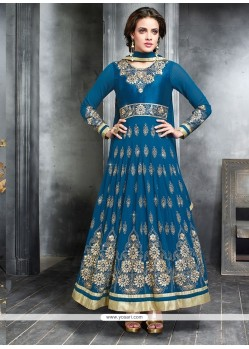 Ombre Blue Georgette Designer Anarkali Suit
