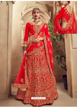 Stunning Red Fancy Fabric Heavy Embroidered Designer Bridal Lehenga Choli