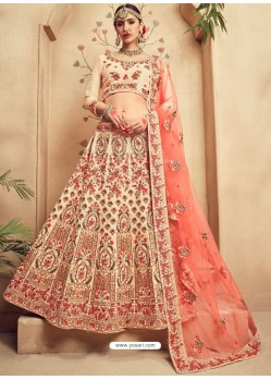 Graceful Off White Fancy Fabric Heavy Embroidered Designer Bridal Lehenga Choli