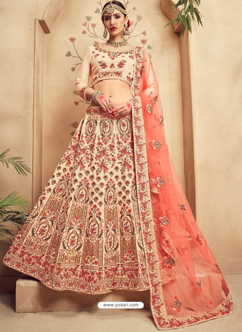 74f645925 Graceful Off White Fancy Fabric Heavy Embroidered Designer Bridal Lehenga  Choli
