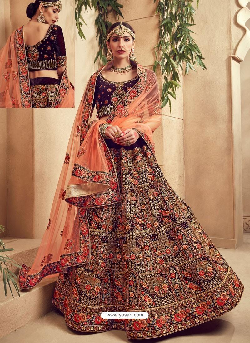 8d38edd89 Elegant Purple Fancy Fabric Heavy Embroidered Designer Bridal Lehenga Choli