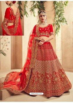 Admirable Red Fancy Fabric Heavy Embroidered Designer Bridal Lehenga Choli