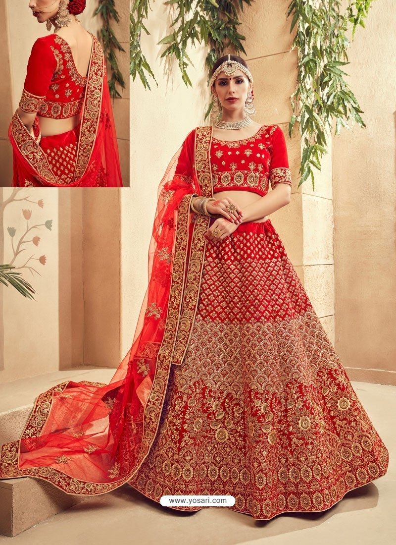 3595a11582 Admirable Red Fancy Fabric Heavy Embroidered Designer Bridal Lehenga Choli