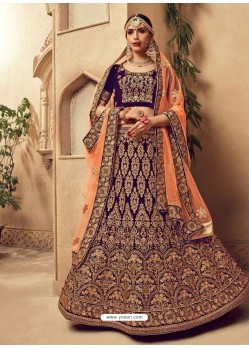 Perfect Purple Fancy Fabric Heavy Embroidered Designer Bridal Lehenga Choli