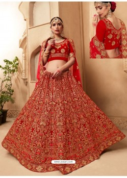 Magnificent Red Fancy Fabric Heavy Embroidered Designer Bridal Lehenga Choli