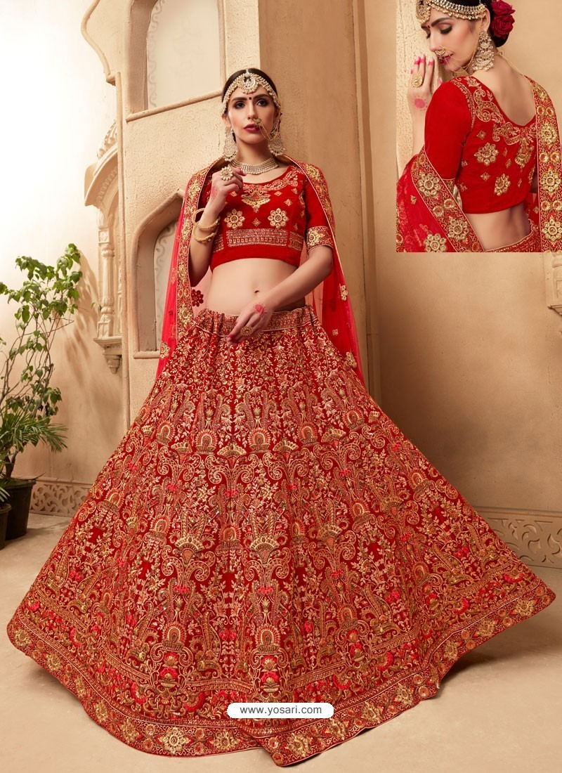 89838cf28 Magnificent Red Fancy Fabric Heavy Embroidered Designer Bridal Lehenga Choli