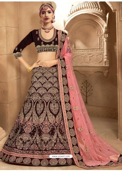 Flawless Coffee Brown Fancy Fabric Heavy Embroidered Designer Bridal Lehenga Choli
