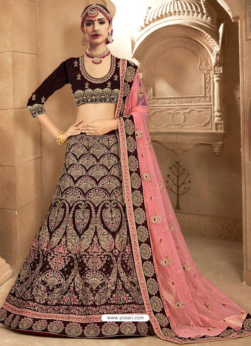 c0c4da3a78 Flawless Coffee Brown Fancy Fabric Heavy Embroidered Designer Bridal Lehenga  Choli