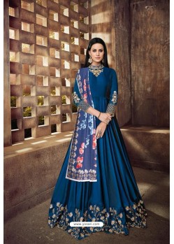 Teal Blue Heavy Tapeta Sarteen And Tapeta Silk Embroidered Floor Length Suit