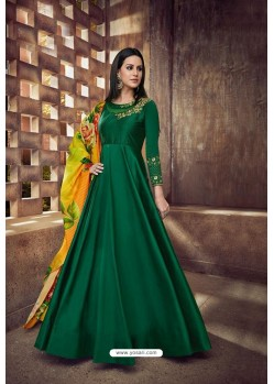 Dark Green Heavy Tapeta Sarteen And Tapeta Silk Embroidered Floor Length Suit