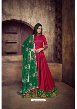 Rose Red Heavy Tapeta Sarteen And Tapeta Silk Embroidered Floor Length Suit