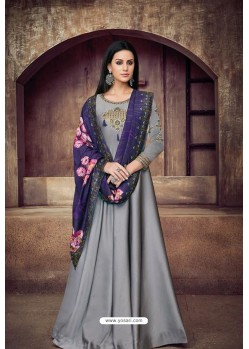 Silver Heavy Tapeta Sarteen And Tapeta Silk Embroidered Floor Length Suit