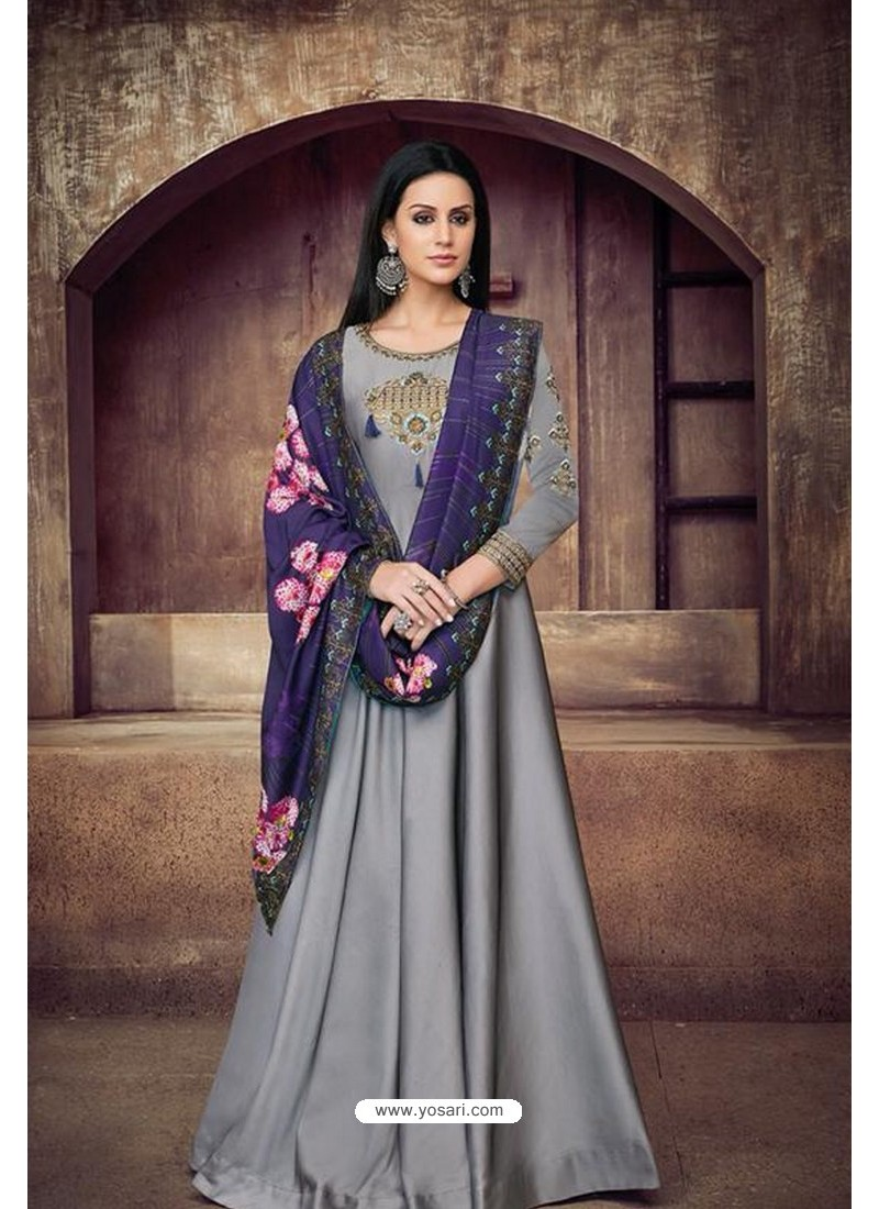 702d291cf10 Silver Heavy Tapeta Sarteen And Tapeta Silk Embroidered Floor Length Suit