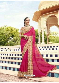 Rani Georgette Embroidered Designer Saree