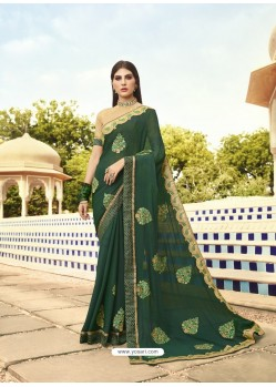 Dark Green Georgette Embroidered Designer Saree