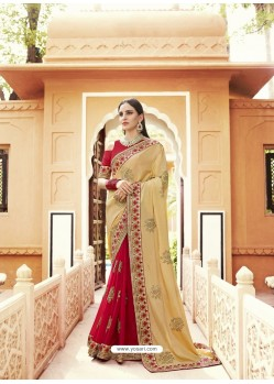 Cream Georgette Embroidered Designer Saree
