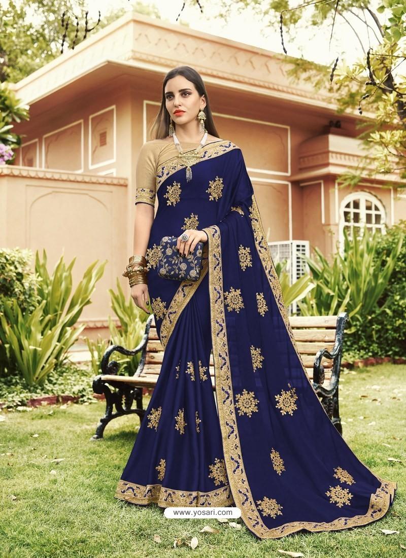 4dde35efeb Buy Navy Blue Georgette Embroidered Designer Saree   Designer Sarees
