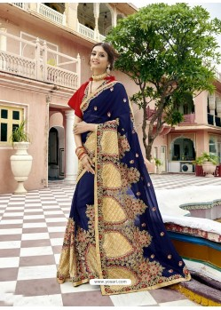 Navy Blue Georgette Embroidered And Stone Worked Designer Saree