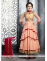 Fabulous Peach Net Anarkali Salwar Suit