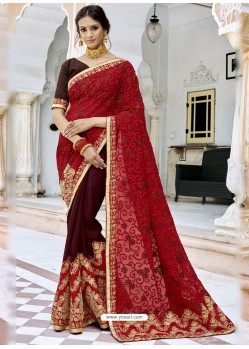 Red Georgette Embroidered And Stone Worked Designer Saree