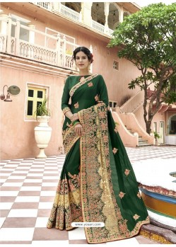 Dark Green Georgette Embroidered And Stone Worked Designer Saree