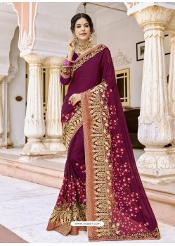 Purple Georgette Embroidered And Stone Worked Designer Saree