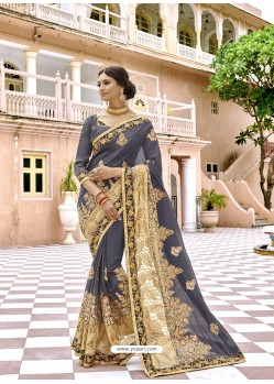 Grey Georgette Embroidered And Stone Worked Designer Saree