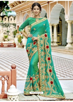 Jade Green Georgette Embroidered And Stone Worked Designer Saree
