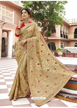 Beige Georgette Embroidered And Stone Worked Designer Saree