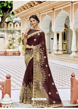 Coffee Georgette Embroidered And Stone Worked Designer Saree