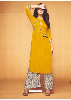 Yellow Rayon Slub Hand Worked Readymade Kurti With Palazzo