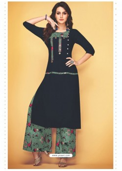 Black Rayon Slub Hand Worked Readymade Kurti With Palazzo
