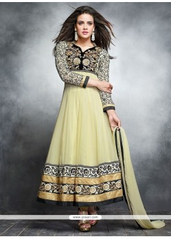 Stellar Cream Georgette Anarkali Suit