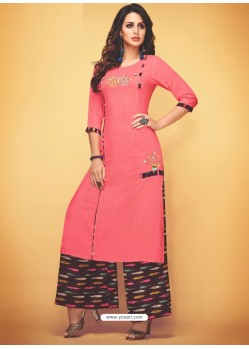 Peach Rayon Slub Hand Worked Readymade Kurti With Palazzo