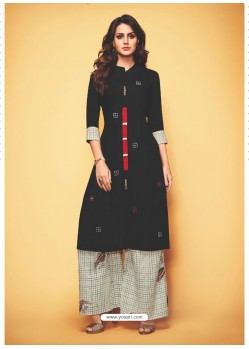 Beautiful Black Rayon Slub Readymade Kurti With Palazzo